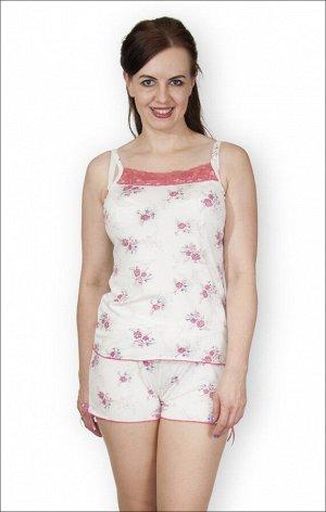 Пижама из вискозы с шортами на бретелях (251-3)