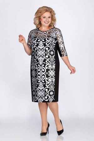 Платье Платье LaKona 1051-1 чёрный  Состав ткани: Вискоза-66%; Эластан-4%; Нейлон-30%;  Рост: 164 см.  Платье полуприлегающего силуэта. Перед и рукав 3/4 выполнены из ткани «под кожу» с п