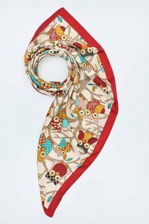 Новый Женский платок Совы, КРАСНЫЙ, 90*90 см, запечатан