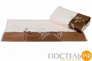 """H0001155 Махровое полотенце с вышивкой 50x90 """"FLORA"""", кремовый, 100% Хлопок"""