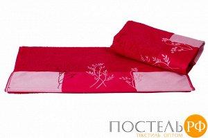 """H0001157 Махровое полотенце с вышивкой 50x90 """"FLORA"""", фуксия, 100% Хлопок"""