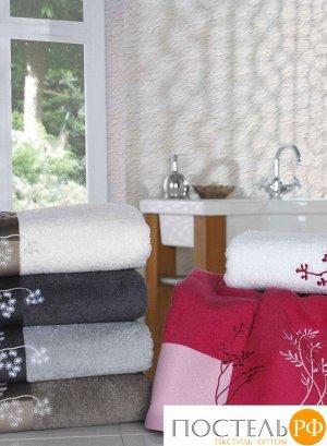 """H0001267 Махровое полотенце с вышивкой 70x140 """"FLORA"""", коричневый, 100% Хлопок"""