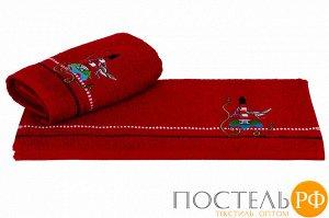 """H0001159 Махровое полотенце с вышивкой 50x90 """"MARINA"""", красный маяк, 100% Хлопок"""