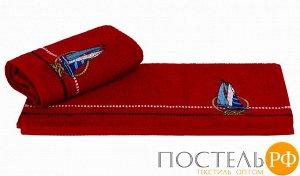 """H0001160 Махровое полотенце с вышивкой 50x90 """"MARINA"""", красный парусник, 100% Хлопок"""