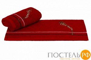 """H0001161 Махровое полотенце с вышивкой 50x90 """"MARINA"""", красный якорь, 100% Хлопок"""