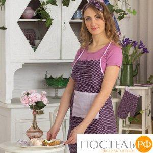 "Набор для кухни ""Весеннее ретро"" 4 предмета (Рукавичка 30х17, прихватка-сердце 16х20, фартук 55х70, полотенце с окантовкой 35х60), 100% хлопок, ""Фиолетовый"""