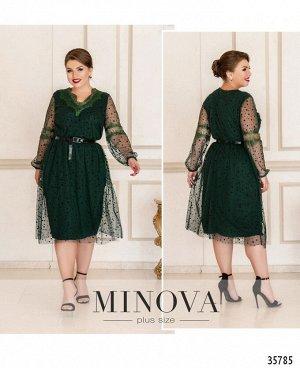 Платье №740-темно-зеленый