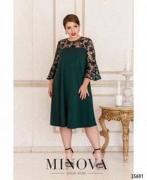 Платье №4125Б-1-темно-зеленый