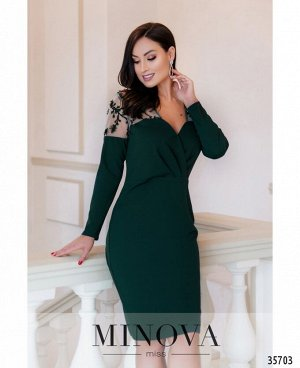 Платье №1886-1-темно-зеленый