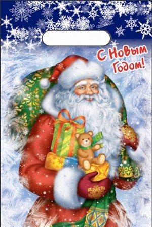 """Пакет новогодний ПВД с вырубной ручкой """"Новогодняя метель"""""""