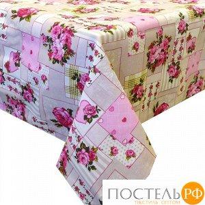 """Скатерть """"Ассорти"""" 145х180, рогожка, 100 % хлопок, """"Пэчворк (розовый)"""""""