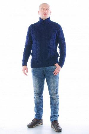 Свитер 005 светло-серый синий Состав: 60%шерсть,40%акрил Описание: Теплый зимний свитер с горловиной на пуговицах.