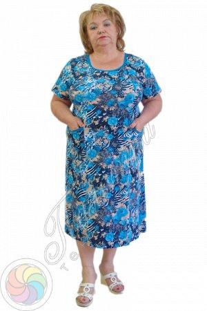 Платье 062 синий красный Состав: хлопок 100% Описание: Женское платье с коротким рукавом из трикотажного кулирного полотна. Горловина и карманы обработаны окантовкой.