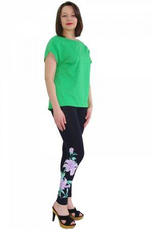 Костюм 252 фиолетовый зеленый Состав: 95%хлопок,5%лайкра Описание: Женский костюм с ярким принтом - футболка с бриджами, выполнен из кулирного полотна с добавлением лайкры. Удобный женский костюм в не