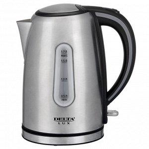 Чайник электрический 2200 Вт, 1,7 л DELTA LUX DE-1000 с окном, черный