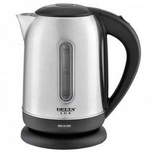 Чайник электрический 2200 Вт, 1,7 л DELTA LUX DE-1001 с окном, черный