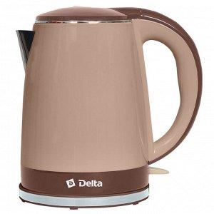 Чайник электрический 2200 Вт, 1,8 л DELTA DL-1370, двухслойный корпус, бежевый с коричневым