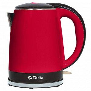 Чайник электрический 2200 Вт, 1,8 л DELTA DL-1370, двухслойный корпус, красный с черным