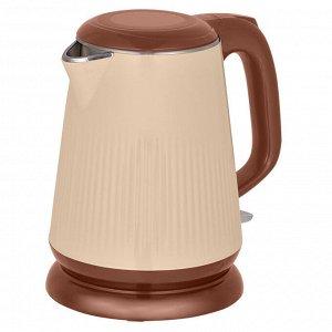 Чайник электрический 2200 Вт, 1,8 л АКСИНЬЯ КС-1030, двухслойный корпус, бежевый с коричневым