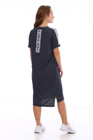 Платье Цвет: темно-серый; Состав: 50%хлопок, 50%пэ; Материал: Кулирка Это платье сочетает в себе удобство и женственность. Можно сочетать как с каблучками, так и с кроссовками. Идеальное платье для те