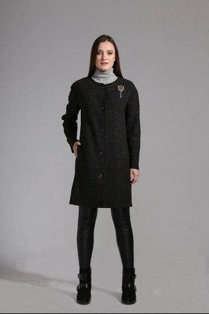 Пальто Пальто Anna Majewska 1153 Dallas  Состав ткани: Вискоза-20%; ПЭ-77%; Эластан-3%;  Рост: 170 см.  Пальто прямого силуэта без подкладки с круглым вырезом, длинными рукавами, внутренними боковыми