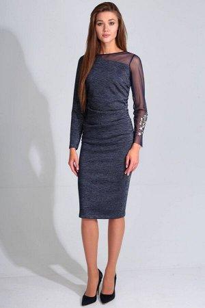 Платье Платье Golden Valley 4608 №2  Состав ткани: ПЭ-76%; Спандекс-4%; Металл-20%;  Рост: 170 см.  Платье без воротника, с круглым вырезом горловины, застежкой на потайную молнию в среднем шве спинк