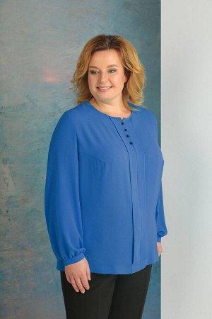 Блуза Блуза Golden Valley 26333-1 синяя  Состав: ПЭ-96%; Спандекс-4%; Сезон: Осень-Зима Рост: 164  Блузка без воротника, с круглым вырезом горловины. По переду- нагрудные вытачки, средний шов, с разр