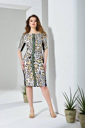Платье Платье Anna Majewska А191  Состав ткани: Вискоза-39%; ПЭ-59%; Спандекс-2%;  Рост: 170 см.  Платье футляр комбинированное из двух эластичных тканей. Спинка и бочки из однотона, перед из модного