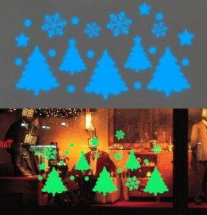 Наклейки с новогодним сюжетом светящиеся в темноте в ассортименте
