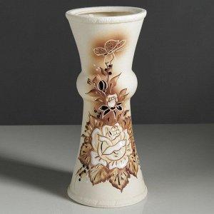 """Ваза настольная""""Тария"""", под шамот, бежевая, цветы, 32 см, керамика"""