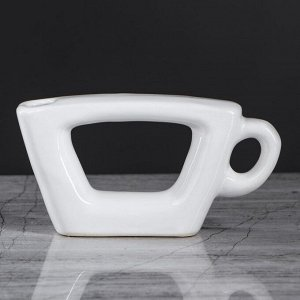 """Ваза настольная """"Чашка"""". белый цвет. 7 см. керамика"""