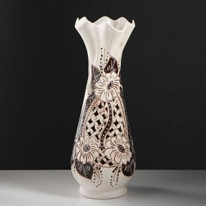 """Ваза напольная """"Вьюн"""" ажур. коричневая. 64 см. керамика"""