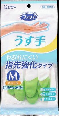 """722211 """"ST"""" """"Family"""" Перчатки для бытовых и хозяйственных нужд (винил, тонкие,  M (зеленые) 1/240"""