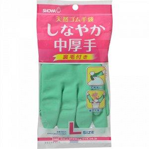 Перчатки резиновые c внутренним покрытием размер L (средней толщины)