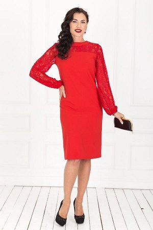 Платье красное, р.54