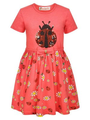 Платье для девочки декорировано двусторонними пайетками