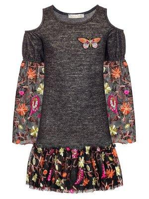 Платье для девочки.Декор-сетка с вышивкой.