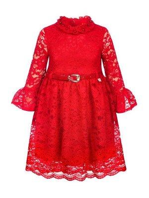 Платье из гипюра, на подкладке, с ремнем