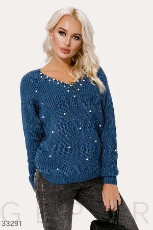 Пуловер с жемчужным декором
