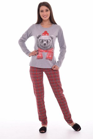 Пижама женская 1-129б (серый-меланж 2)