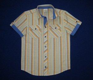 Сорочка короткий рукав Паты с карманами Полоска оранжево-голубая школьная ростовка