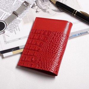 Обложка для паспорта, крокодил, цвет красный
