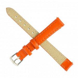 Ремешок для часов, 12 мм, женский, натуральная кожа, l=20 см, оранжевый