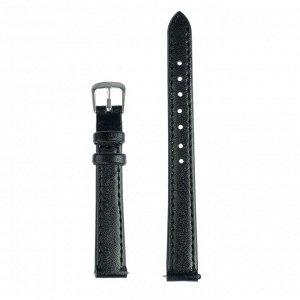 Ремешок для часов, 12 мм, женский, натуральная кожа, l=18 см, черный