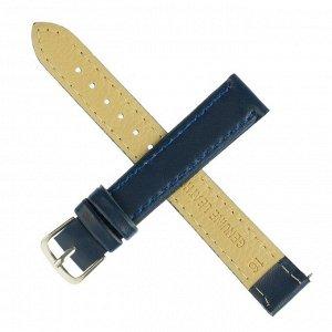Ремешок для часов, 16 мм, женский, натуральная кожа, l=20 см, темно-синий