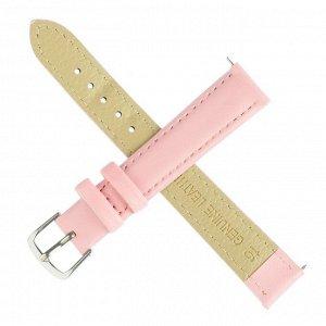 Ремешок для часов, 16 мм, женский, натуральная кожа, l=20 см, светло розовый