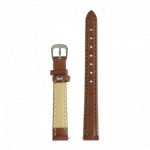 Ремешок для часов, 12 мм, женский, натуральная кожа, l=20 см, коричневый