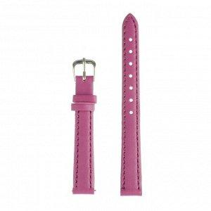 Ремешок для часов, 12 мм, женский, натуральная кожа, l=18 см, фиолетовый