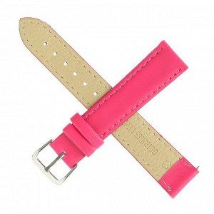 Ремешок для часов, 18 мм, женский, натуральная кожа, l=20 см, розовый