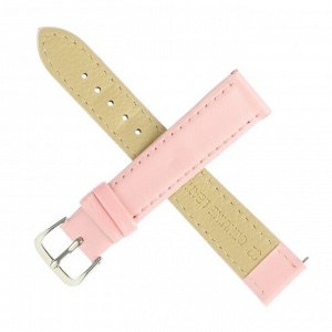 Ремешок для часов, 18 мм, женский, натуральная кожа, l=20 см, светло  розовый